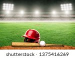 baseball helmet  bat and ball...   Shutterstock . vector #1375416269