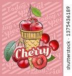 cherry ice cream scoop in cones.... | Shutterstock .eps vector #1375436189