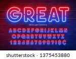 neon light alphabet ... | Shutterstock .eps vector #1375453880