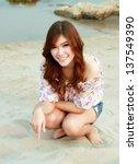a portrait of beautiful woman... | Shutterstock . vector #137549390