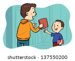 borrowing a book a boy... | Shutterstock .eps vector #137550200