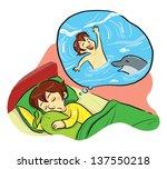 sweet dreaming a boy dreaming... | Shutterstock .eps vector #137550218