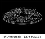 white salad with vegetables in... | Shutterstock .eps vector #1375506116