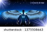 superhero with wings on a dark... | Shutterstock .eps vector #1375508663