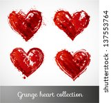 Grunge heart collection. Vector illustration.
