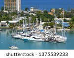 Aerial view of sail boats and other vessels anchored in Montego Bay Jamaica.