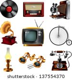 retro objects icons detailed... | Shutterstock .eps vector #137554370