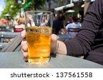 man drinking cider in terrace   Shutterstock . vector #137561558