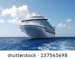 cruise ship in open water front ... | Shutterstock . vector #137565698