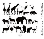 Set Of Silhouettes Of African...