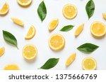 Fresh Lemons And Leaves On...