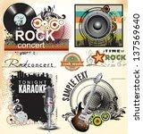 grunge music banner set | Shutterstock .eps vector #137569640