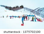 gala yuzawa snow resort  yuzawa ... | Shutterstock . vector #1375702100