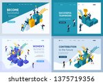 set of landing pages of... | Shutterstock .eps vector #1375719356