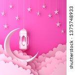 arabic lantern  cloud  crescent ... | Shutterstock . vector #1375748933