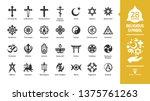 religious symbol glyph icon set ... | Shutterstock .eps vector #1375761263
