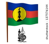 new caledonia wavy flag and... | Shutterstock .eps vector #137576144