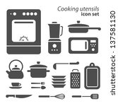 Vector symbols of cooking utensils on white background