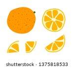 doodle set orange cut | Shutterstock . vector #1375818533