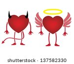heart devil and angel concept | Shutterstock .eps vector #137582330