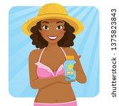beautiful dark skinned girl in...   Shutterstock .eps vector #1375823843