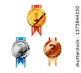 set of golden  silver and... | Shutterstock . vector #1375844150