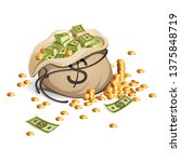 bag of money and stack of gold... | Shutterstock .eps vector #1375848719