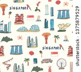 singapore line design with city ... | Shutterstock .eps vector #1375879529