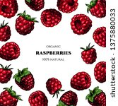 vector frame with raspberries.... | Shutterstock .eps vector #1375880033