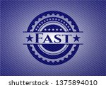 fast emblem with denim texture   Shutterstock .eps vector #1375894010