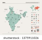 vector map of india.  high... | Shutterstock .eps vector #1375911026
