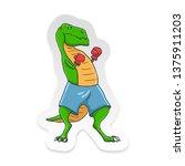 cartoon t rex dinosaur boxing... | Shutterstock .eps vector #1375911203