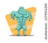cartoon t rex dinosaur... | Shutterstock .eps vector #1375911209