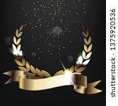 golden laurel wreath with...   Shutterstock . vector #1375920536