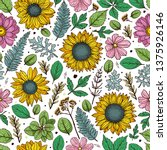 seamless pattern with flowers ... | Shutterstock .eps vector #1375926146