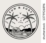 sun and surf text with palm... | Shutterstock .eps vector #1375926896