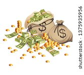 bags of money and stack of gold ... | Shutterstock .eps vector #1375935956