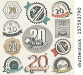 Vintage 20 anniversary collection. Twenty anniversary design in retro style. Vintage labels for anniversary greeting. Hand lettering style typographic and calligraphic symbols for 20 anniversary. - stock vector