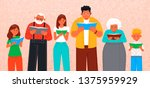 people of different ages read... | Shutterstock .eps vector #1375959929