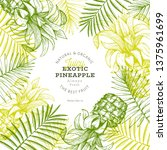 pineapples and tropical leaves... | Shutterstock .eps vector #1375961699