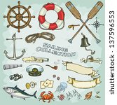 sailing collection. set of... | Shutterstock .eps vector #137596553