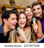 group of friends karaoke...   Shutterstock . vector #137597540