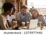 happy diverse friends students...   Shutterstock . vector #1375977440
