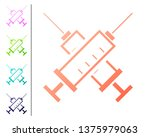 coral crossed syringe icon... | Shutterstock .eps vector #1375979063