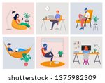 working at home  coworking... | Shutterstock .eps vector #1375982309