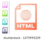 coral html file document icon.... | Shutterstock .eps vector #1375995239
