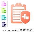 coral clipboard with medical... | Shutterstock .eps vector #1375996136