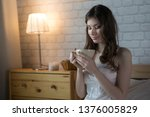 beautiful young blond woman in... | Shutterstock . vector #1376005829