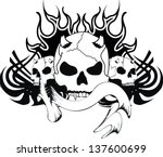 skull tribal tattoo in vector... | Shutterstock .eps vector #137600699