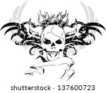 skull tribal tattoo in vector... | Shutterstock .eps vector #137600723